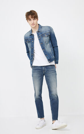 JackJones Men's Winter Washed Denim Long-sleeved Jacket| 219457502